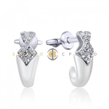 Серебряные пуссеты «Сальма» с белой керамикой