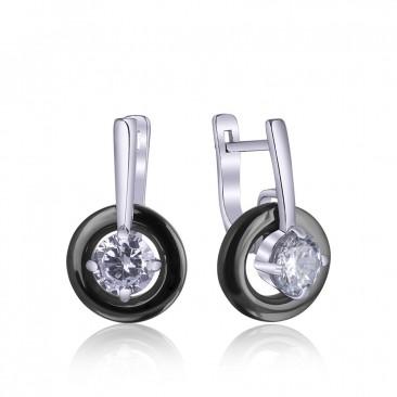 Серебряные серьги «Ночные чары» с черной керамикой