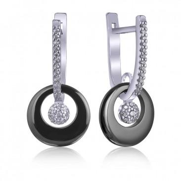 Серебряные серьги «Нуар» с черной керамикой
