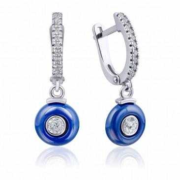 Серебряные серьги «Цунами» с синей керамикой