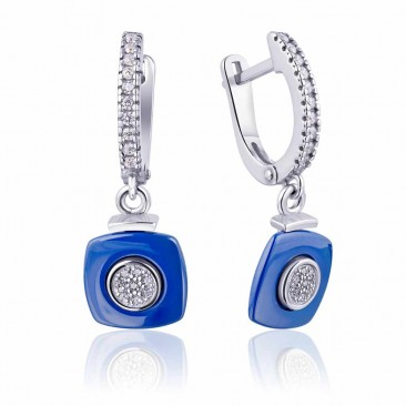 Серебряные серьги «Сапфир» с синей керамикой