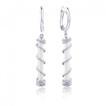 Серебряные серьги «Искушение» с белой керамикой