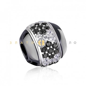 Срібний шарм «Орхідея» з чорною керамікою