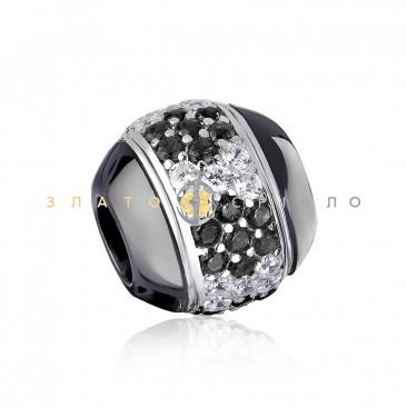Серебряный шарм «Орхидея» с черной керамикой