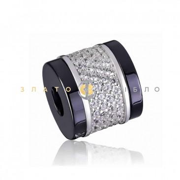 Серебряный шарм «Шанет» с черной керамикой