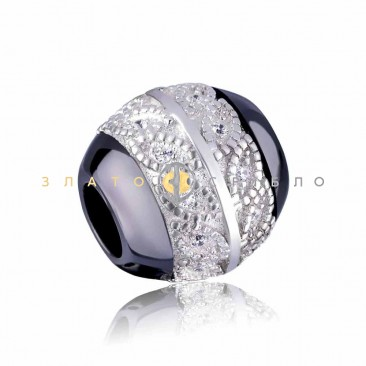 Серебряный шарм «Молизе» с черной керамикой