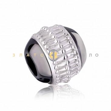 Серебряный шарм «Римини» с черной керамикой