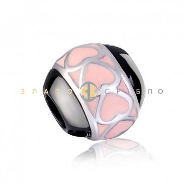 Серебряный шарм «Нежность» с черной керамикой