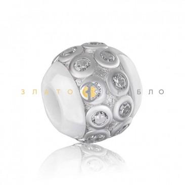 Срібний шарм «Сакура» з білою керамікою