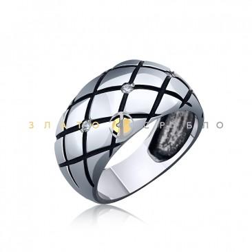 Серебряное кольцо «Граффити» с фианитами