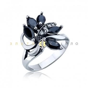 Серебряное кольцо «Черная орхидея»