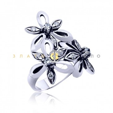 Срібна каблучка «Троянда» з фіанітом в интернет-магазине «ЗлатоСрібло» 1665734c38304