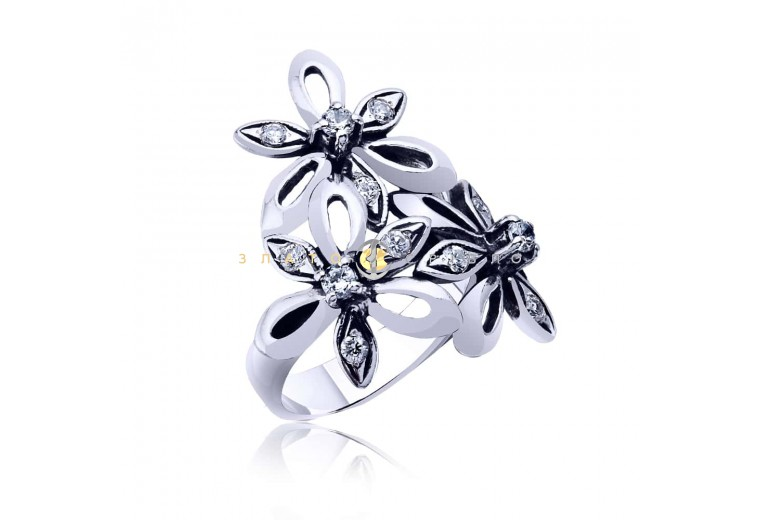 Серебряное кольцо «Цветочная феерия»