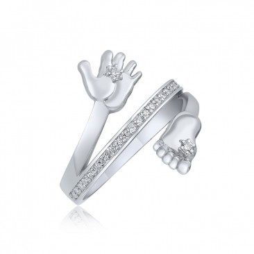Серебряное кольцо «Ручка и ножка»