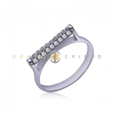 Серебряное кольцо «LINES» с фианитами