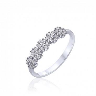 Серебряное кольцо «Лантана» с фианитами