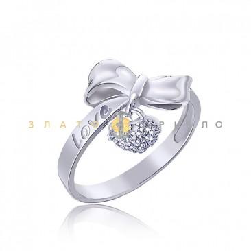 Серебряное кольцо «Бантик с сердечком»