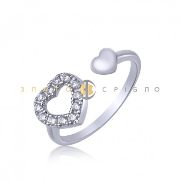 Серебряное кольцо «Два сердца»