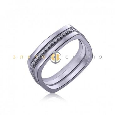 Серебряное кольцо «Quadro» с фианитами