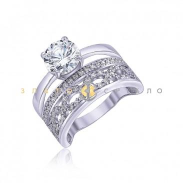 Серебряное кольцо «Victory» с фианитами