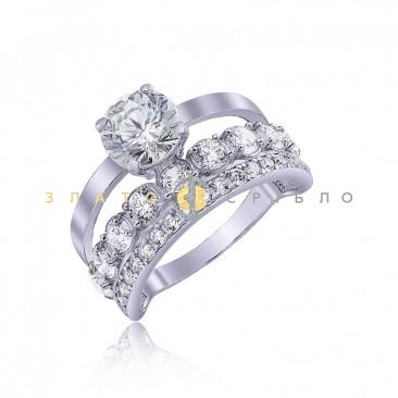 Серебряное кольцо «Бриз» с фианитами