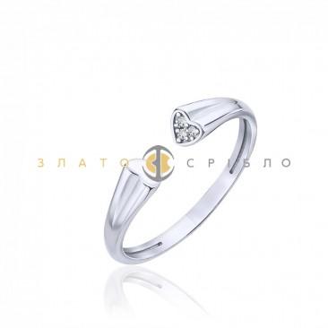 Серебряное кольцо «Взаимность» с фианитом