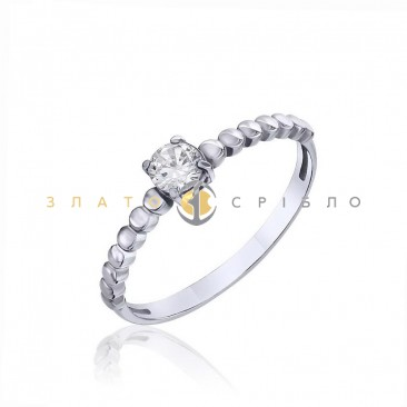 Серебряное кольцо «Нежное касание» с фианитом