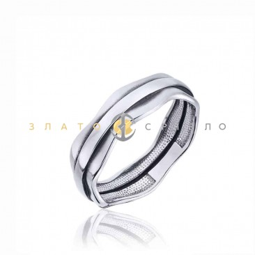 Серебряное кольцо «Плавные линии» без вставок