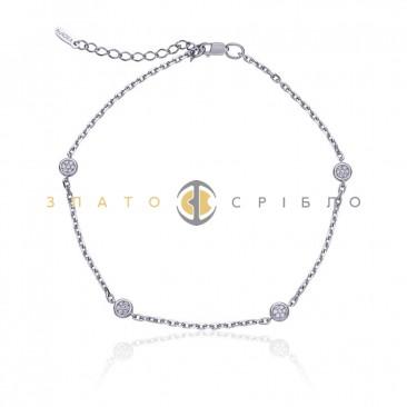 Серебряный браслет «Солнечные блики» на ногу