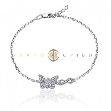 Серебряный браслет «Нежная бабочка»