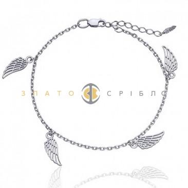 Серебряный браслет «Взмах крыльев» на ногу