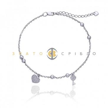 Серебряный браслет «Ключик от сердца» на ногу