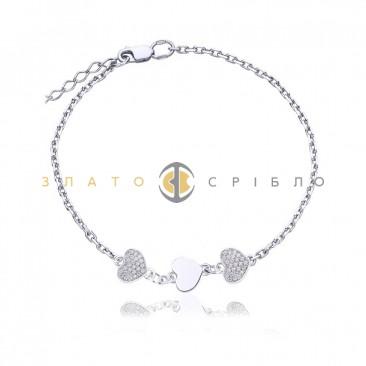 Серебряный браслет «Сердца»