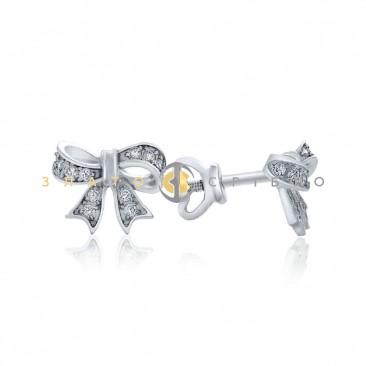 Серебряные пуссеты «Бантики»