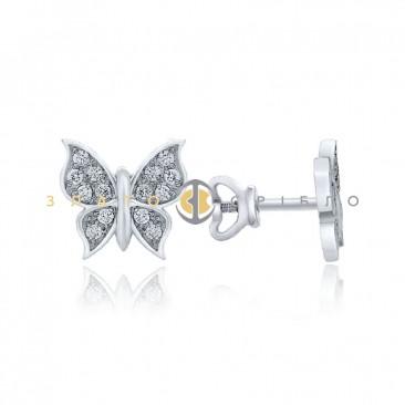 Серебряные пуссеты «Бабочки»