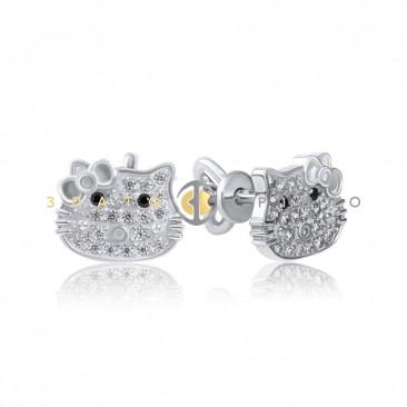 Серебряные пуссеты «Hello Kitty» с бантиком