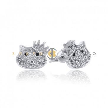 Серебряные пуссеты «Hello Kitty» с короной
