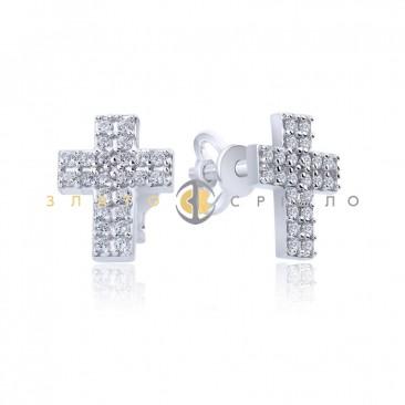 Серебряные пуссеты «Крестики» с фианитами