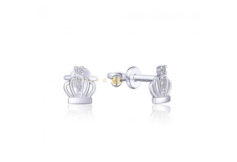 Серебряные пуссеты «Корона»