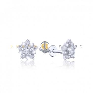 Серебряные пуссеты «Нежные цветы» с фианитами
