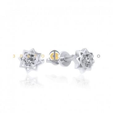 Серебряные пуссеты «Звездочка» с фианитами