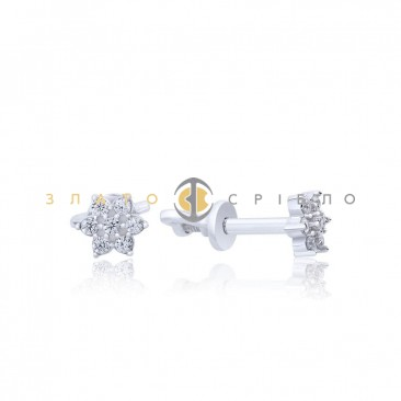 Серебряные пуссеты «Нежное сверкание» с фианитами