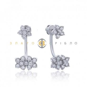 Серебряные пуссеты «Цветочная романтика» с фианитами