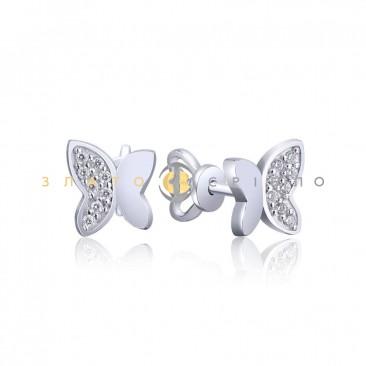 Серебряные пуссеты «Мотыльки»