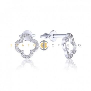 Серебряные пуссеты «Необычные» с фианитами