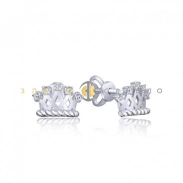 Срібні пусети з фіанітами «Корона»