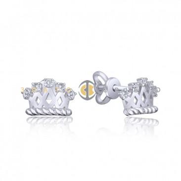 Серебряные пуссеты с фианитами «Корона»