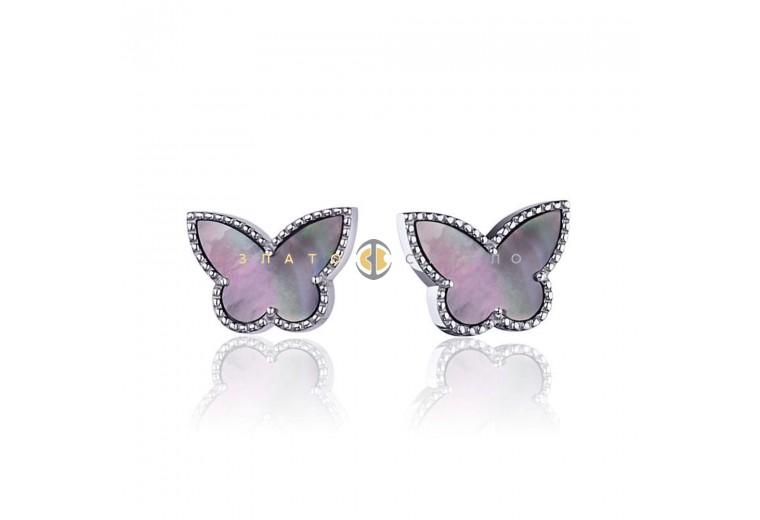 Серебряные пуссеты «Лунная бабочка»