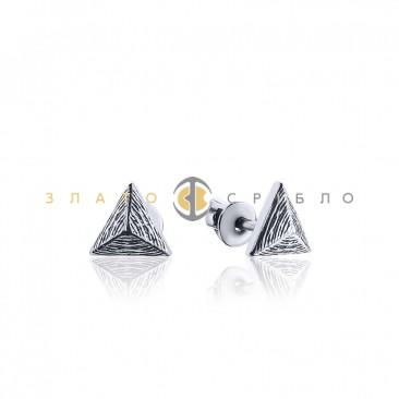 Серебряные пуссеты «Пирамида» без вставок