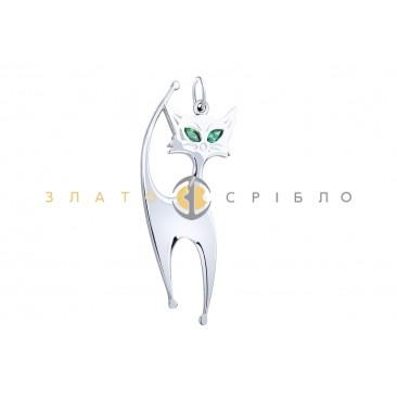 """Срібний підвіс """"Кішка з зеленими очима"""""""